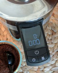 KitchenAid Precision Press coffee maker LED display.