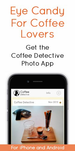 Coffee photos on the Coffee Detective mobile app.