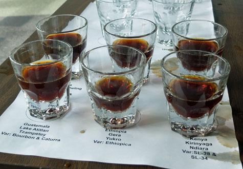 Coffee reviews and coffee cupping
