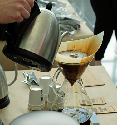 Chemex pour over coffee brewing