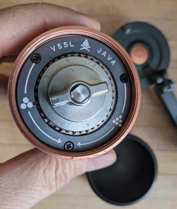 Grinder settings of the VSSL JAVA coffee grinder.