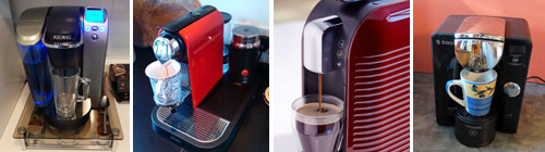 Four different single serve coffee makers.