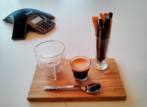 Classy presentation of coffee at a business meeting.