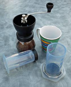 Hand coffee mill and AeroPress