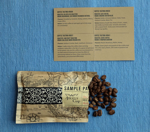 Angels' Cup sample coffee pouch.