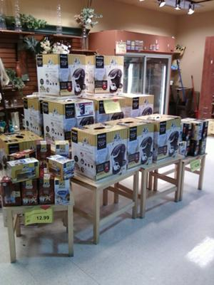 Keurig brewers in the supermarket.