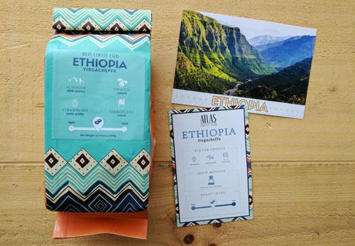 A bag of Yirgacheffe coffee beans from Atlas Coffee Club.
