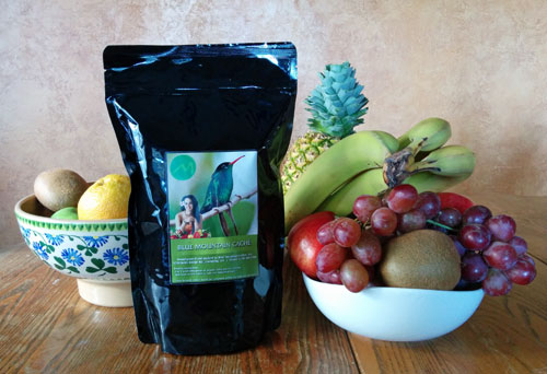 Blue Mountain Cache coffee with fruit.