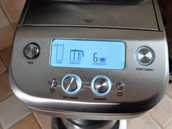 Display on the Breville Grind Control coffee maker