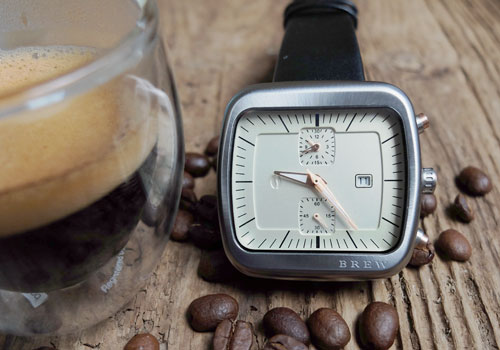 Brew watch and coffee beans.