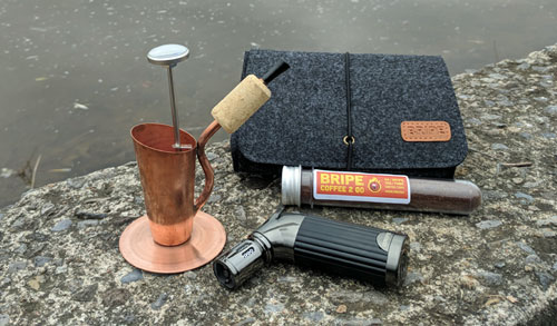 The complete Bripe Coffee Brew Pipe kit, with carrying case.