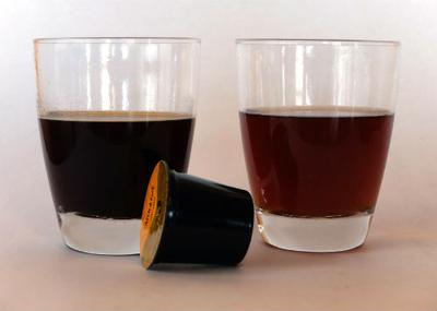 Using one K-Cup to make two small cups of coffee.