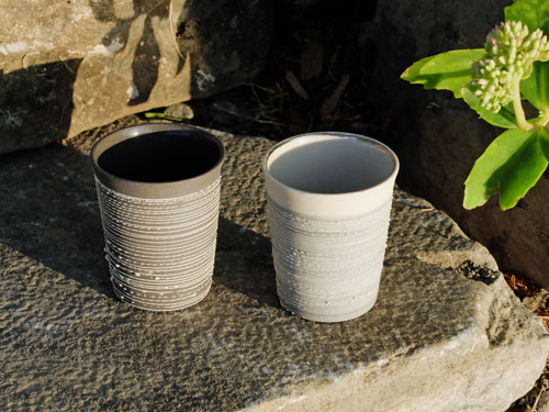 Ceramic espresso cups outside