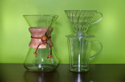 Chemex and Hario pour-over coffee makers.