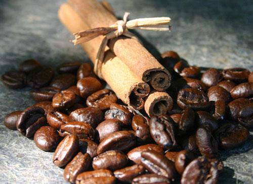 Coffee beans and cinnamon sticks.