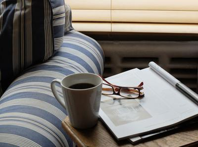 Sit back at home with a coffee and magazine.
