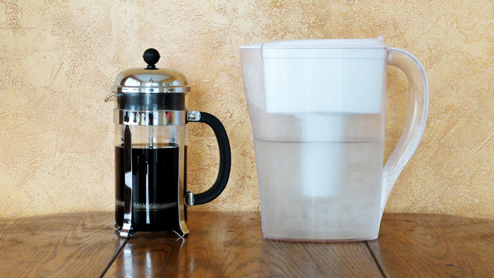 Using a Brita jug to purify water for making coffee