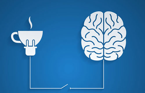 Brain plugged into coffee