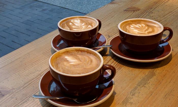 Coffee drinks at coffee shop