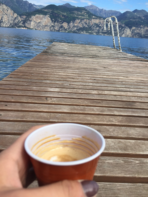 Coffee by the lake.