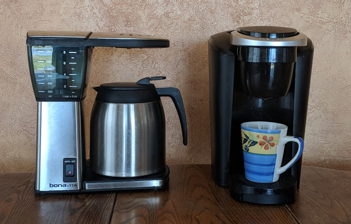 Choice of coffee machines - traditional drip coffee maker or single-serve brewer