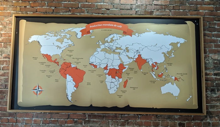 World map of coffee producing countries