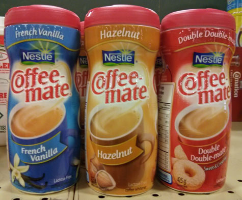 Coffee Mate flavored creamers.