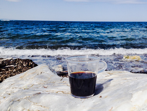 Coffee on the beach in France.