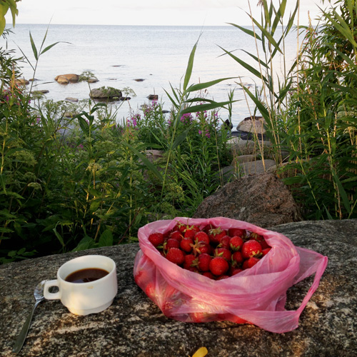 Coffee and strawberries.