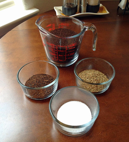 Cold brew coffee ingredients with chicory and anise