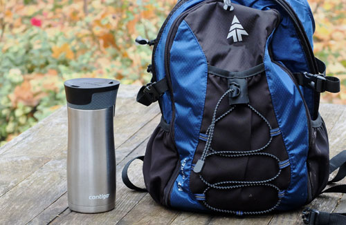 Contigo travel mug with backpack.