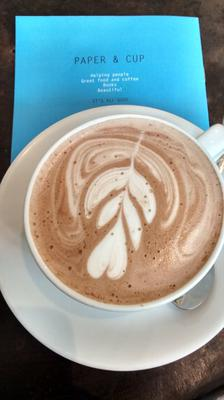 A cappuccino at Paper and Cup cafe in London