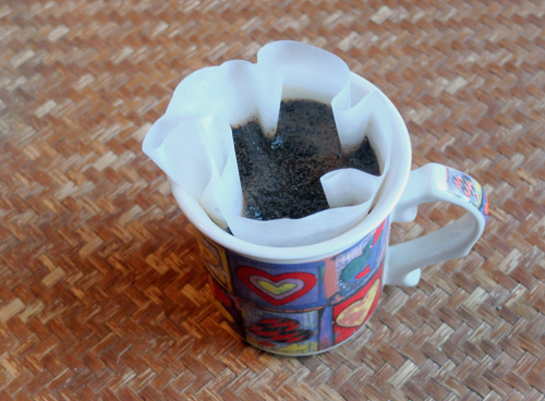 Coffee filter inside the mug.