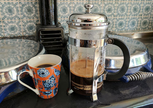 French press coffee on Aga