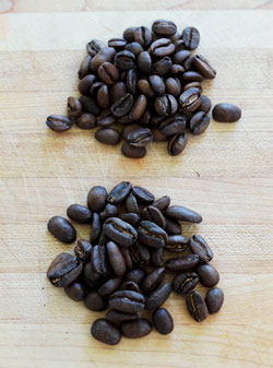 Roasted beans of Auromar Panama Geisha coffee and Esmeralda Geisha Special.