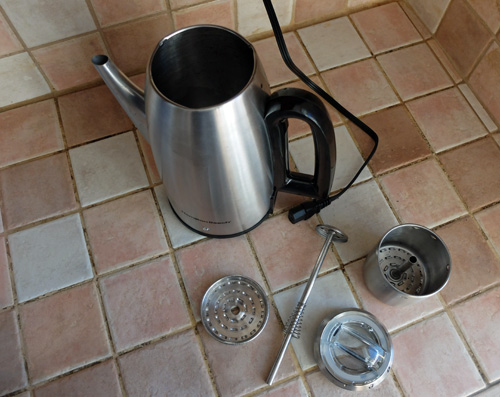 Parts in a coffee percolator.