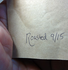 Roasting date on the back of a bag of Bean Box coffee.
