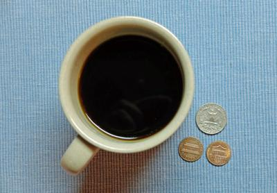Coffee brewed at home costs as little at 27 cents a cup.