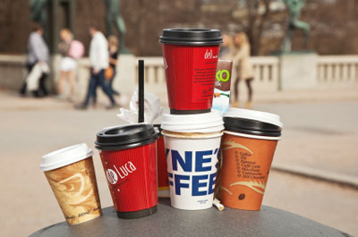 Coffee cups in search of an unlocked dumpster?