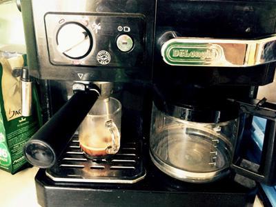 A combination coffee and espresso machine from deLonghi.