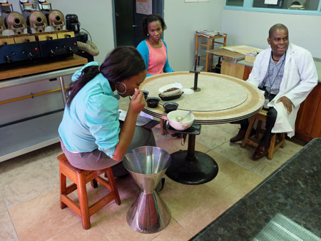 Cupping at Jamaica's Coffee Industry Board