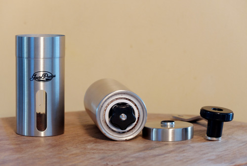 JavaPresse manual burr coffee grinder disassembled.