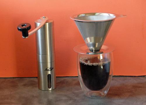 Javapresse coffee dripper and hand coffee grinder.