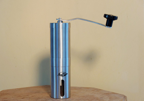 JavaPresse manual burr coffee grinder.