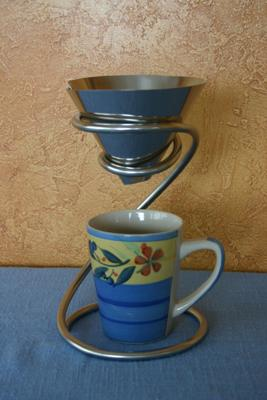 Stainless steel filter cone coffee maker and sculpture.