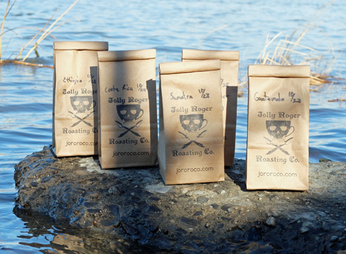 Coffee bags from the Jolly Roger Roasting Company.