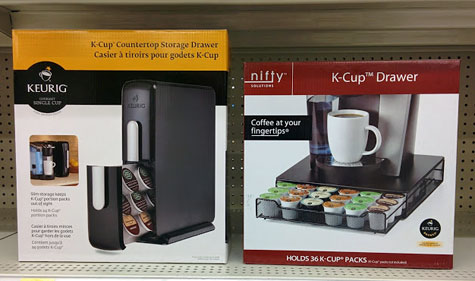 K-cup storage drawers for your Keurig brewer.