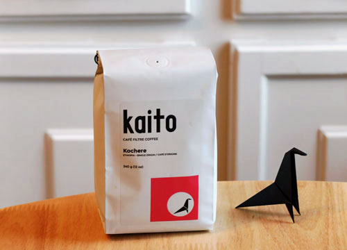 A bag of Kaito Coffee Roaster's Kochere coffee from Ethiopia