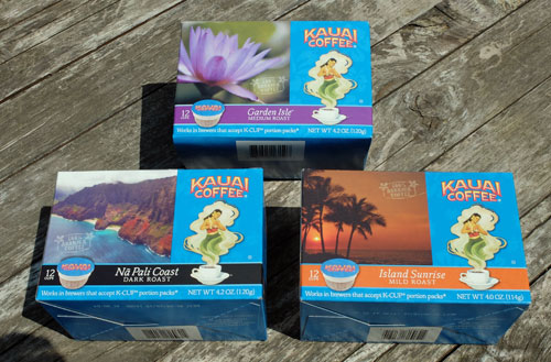 Three boces of K-Cups from Kauai Coffee.