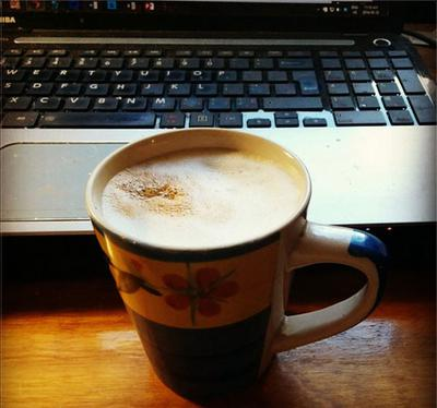 Cappuccino and keyboard.